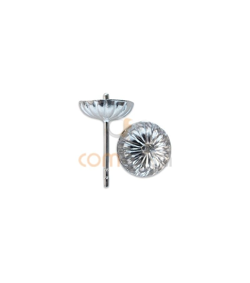 Sterling silver 925 Corrugated Cap with peg 8 mm