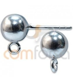 Sterling silver 925 Ball earring with jump rings 6 mm