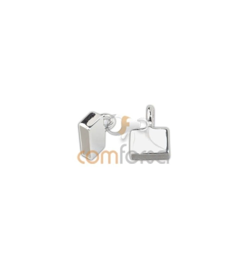 Sterling silver 925 Flat closed end cap with jumpring 6 x 2.5 mm
