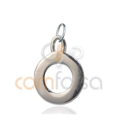 Sterling Silver 925 O Letter Pendant 6x11mm