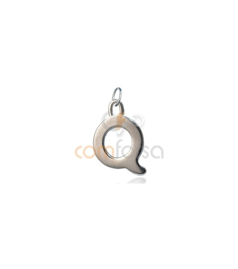 Sterling Silver 925 Q Letter Pendant 6x11mm