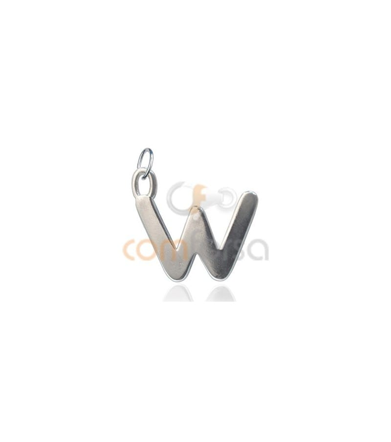 Sterling Silver 925 W Letter Pendant 6x11mm