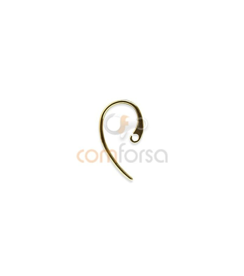Sterling silver 925 gold-plated long flat hook with open jump ring 12 x 22 mm