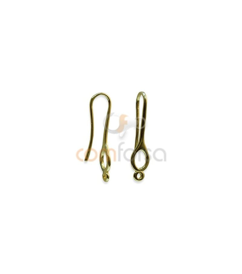 Sterling Silver 925 Gold Plated Round Hook with Jump Ring 11 x 21 mm