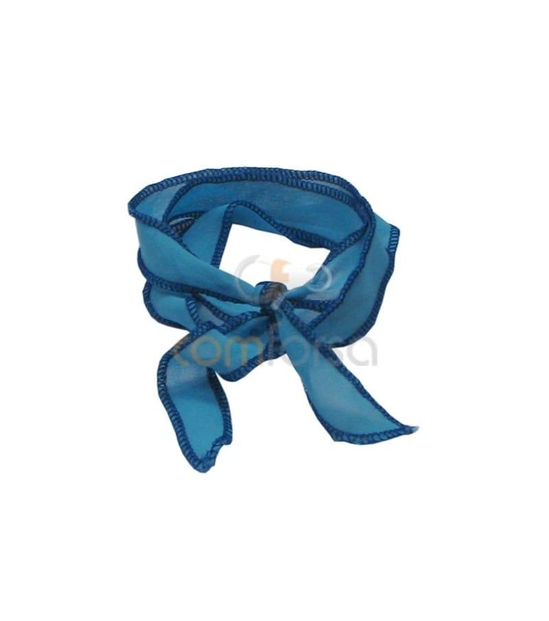 Seda thai ribeteada celeste/azul 60 cm