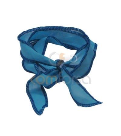 Trimmed Thai Silk Sky-Blue/Blue 95cm