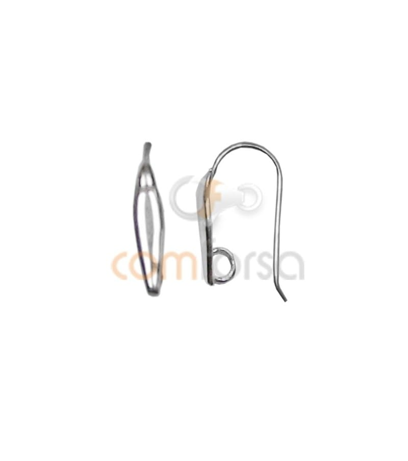 Sterling Silver 925 Earhooks with Hidden Jump Ring 24 x 2 mm