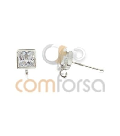 Sterling Silver 925 Square Zirconia Earrings 5mm with Jump Ring