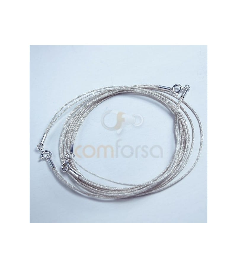 Silver Japanese Silk Choker with Sterling Silver 925 Lock 40cm