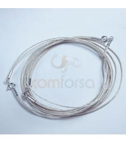 Double Silver Japanese Silk Choker with Sterling Silver 925 Lock 45cm