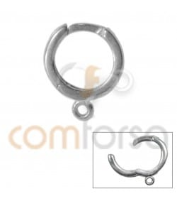 Rhodium Plated Sterling Silver 925 Hoop Earring 14mm with Jump Ring & Bar