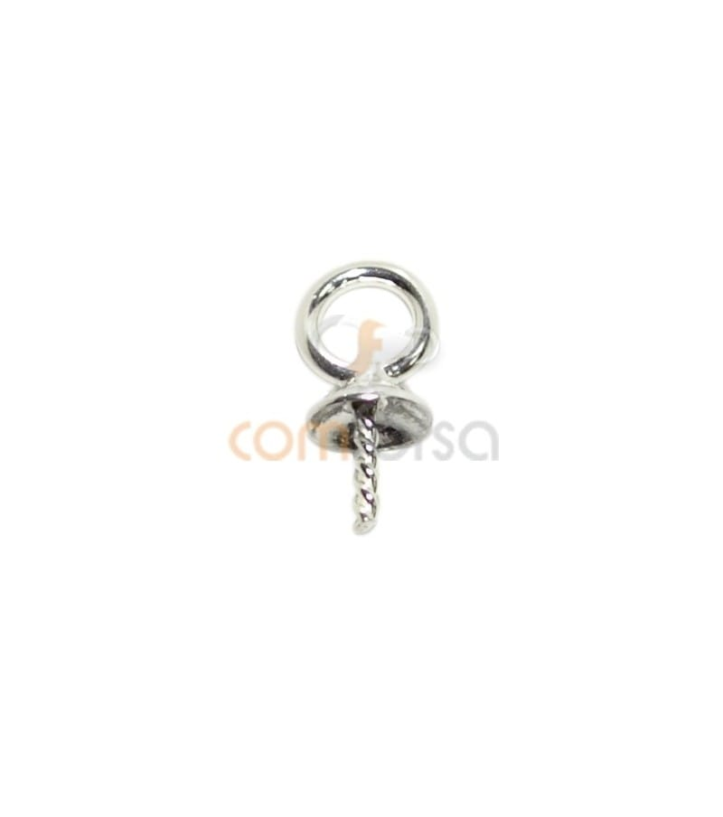 Rhodium Plated Sterling Silver 925 Cap 4mm with Open Jump Ring 3mm