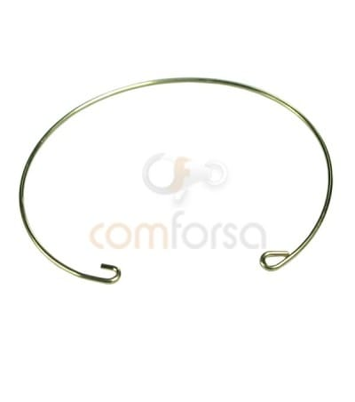 Gold Plated Sterling Silver 925 Wire Bangle 16.5cm (0.9)