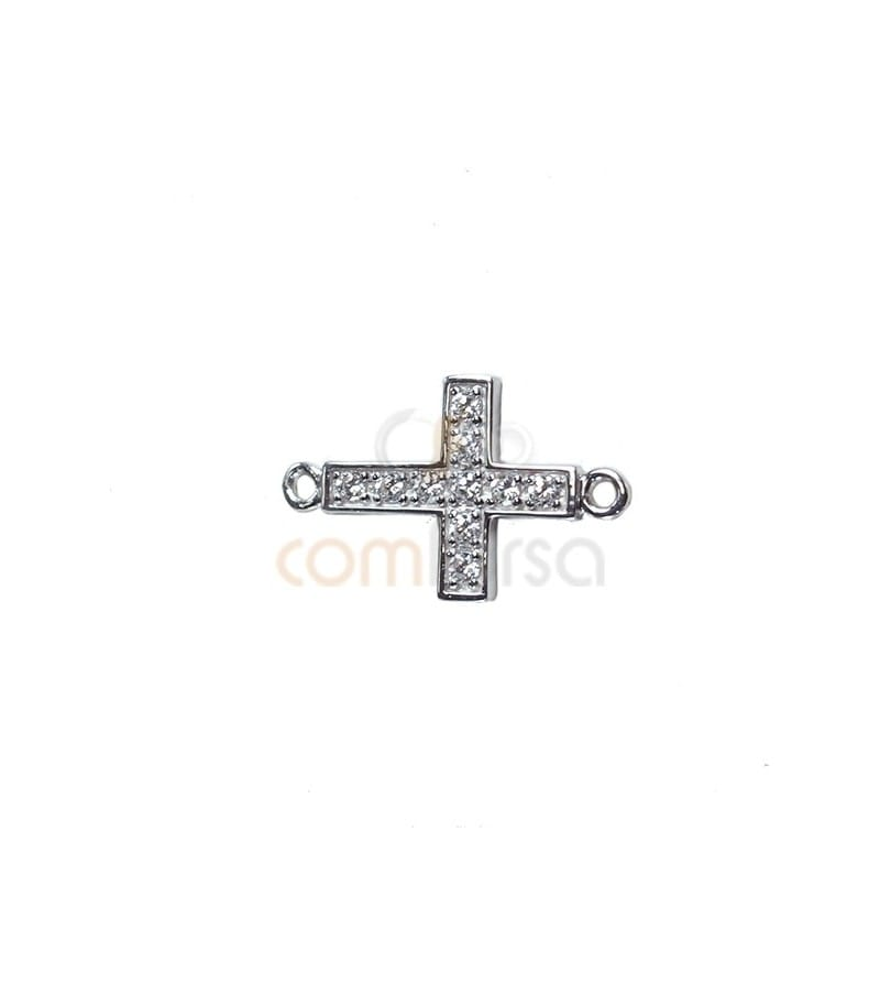 Zirconium cross bead with double ring 17.5 x 10.5mm silver 925