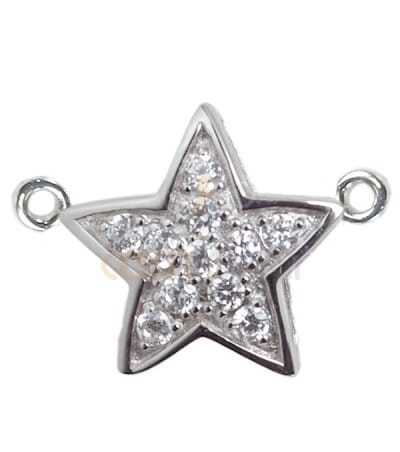 Sterling Silver 925 Zirconia Star Pendant with Double Jump Ring