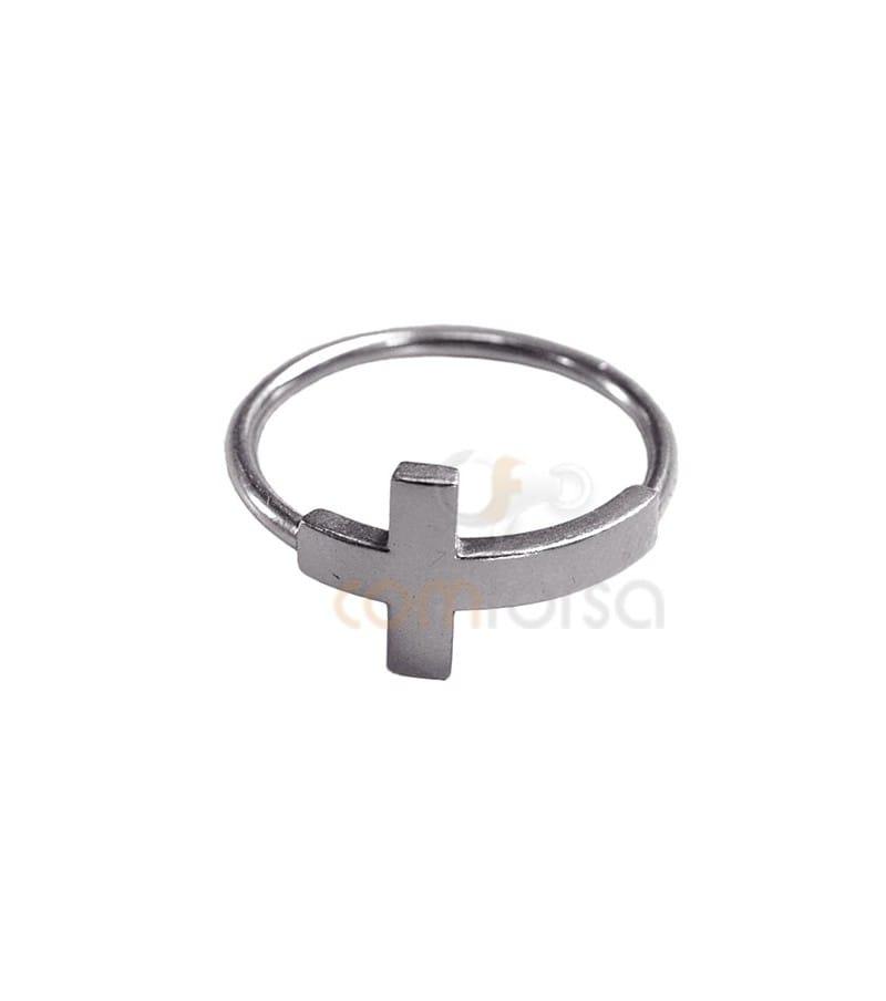 Sortija cruz plata 925