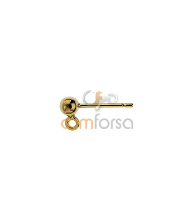 18kt Yellow gold ball earring with rings 3mm