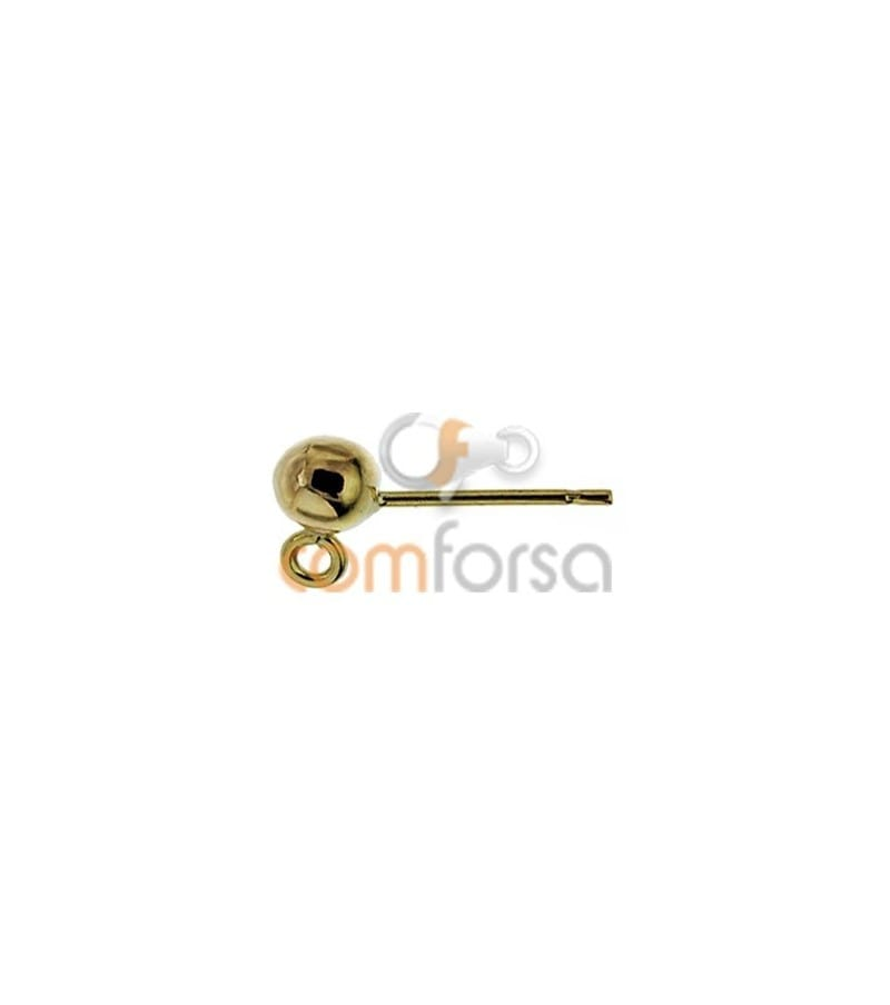 18kt Yellow gold ball earring with rings 4mm