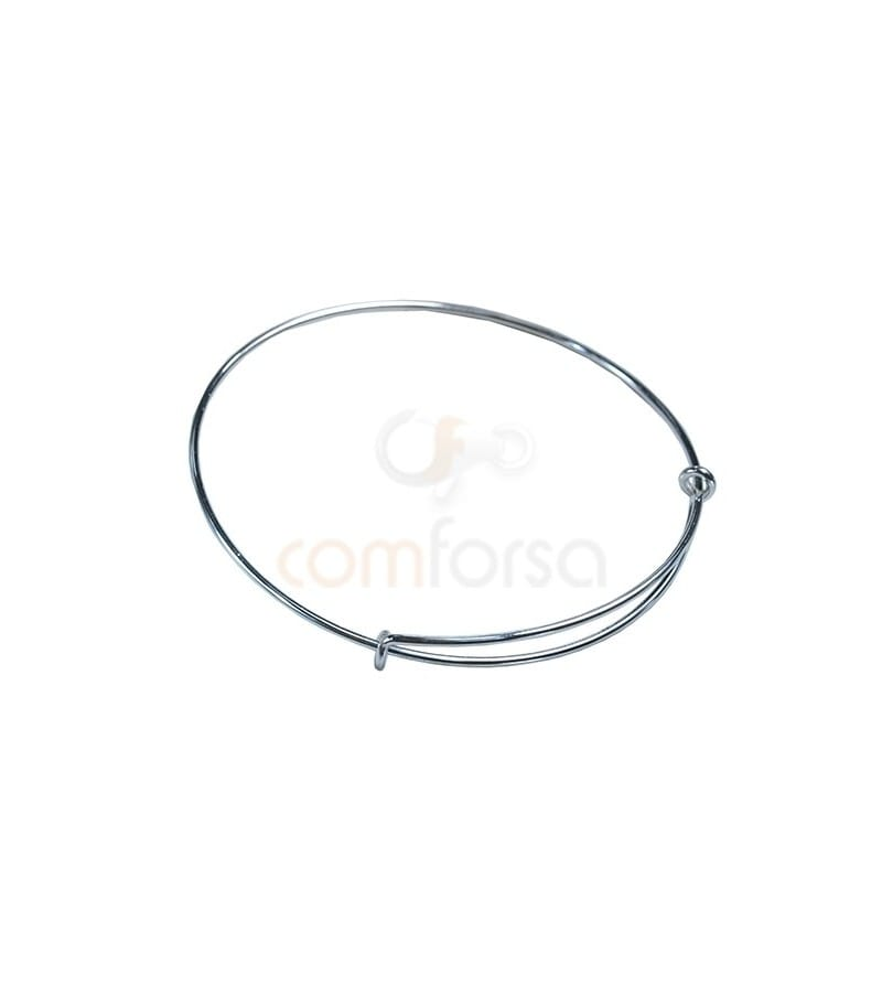 Sterling Silver 925 Hippy Wire Strand Bangle 58-62mm