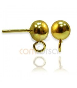 Sterling Silver 925 gold-plated earring ball with jumpring 6 mm