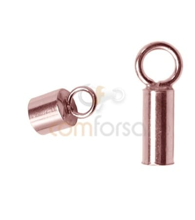 Rose Gold-plated Lined tube with ring 2.1(Ø) x 6 mm