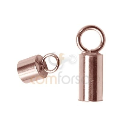 Rose Gold-plated Lined tube with ring 3.1(Ø) x 6 mm