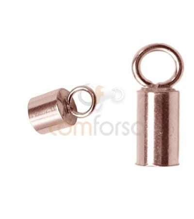 Sterling silver 925 Rose Gold-plated Lined tube with ring 4.1(Ø) x 6 mm
