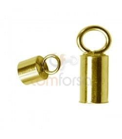 Gold-plated Sterling Silver 925 Lined tube with ring 5.1(Ø) x 6 mm