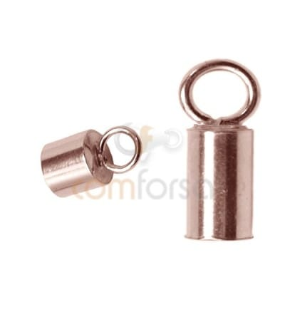 Sterling silver 925 Rose Gold-plated Lined tube with ring 5.1(Ø) x 6 mm