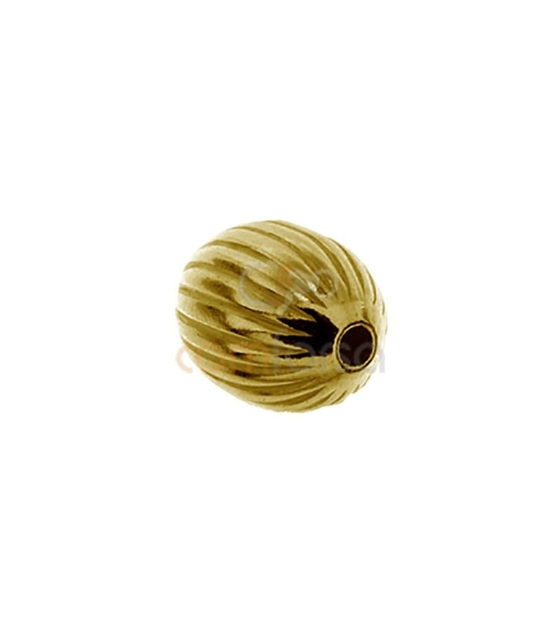 Gold Plated Sterling Silver 925 corrugated ball 6 mm (1.4int)