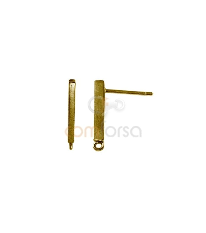 Sterling Silver 925 Gold Plated bar shaped earring 1.8 x 19.5 mm