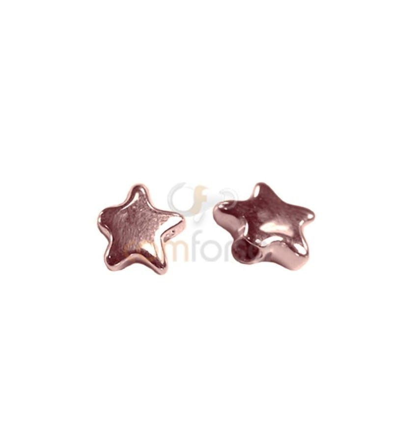 Sterling silver 925 Rose Gold-plated Star thick bead 8,8x8,5 mm