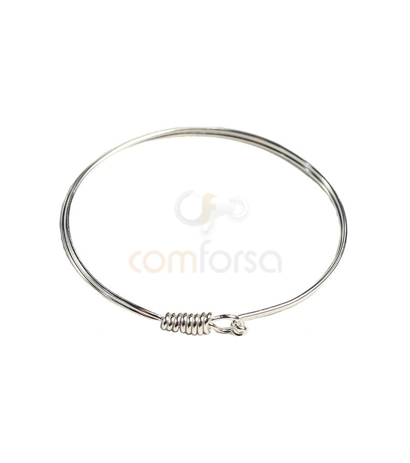 Sterling Silver 925 Wire Bangle with hook clasp 63 mm