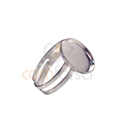 Sterling Silver 925 Ring with oval blank 12x16 mm