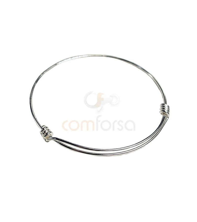 Sterling Silver 925 Wire Bangle with detail