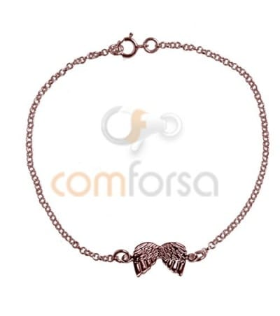 Rose Gold Plated Sterling Silver 925 Bracelet 14 cm with rings