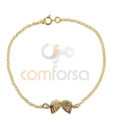 Gold Plated Sterling Silver 925 Bracelet 14 cm with rings