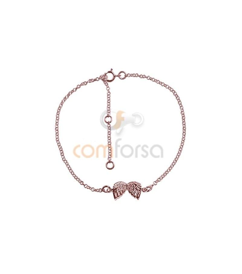 Pulsera 14 cm mas alargador 4 cm plata chapada oro rosa