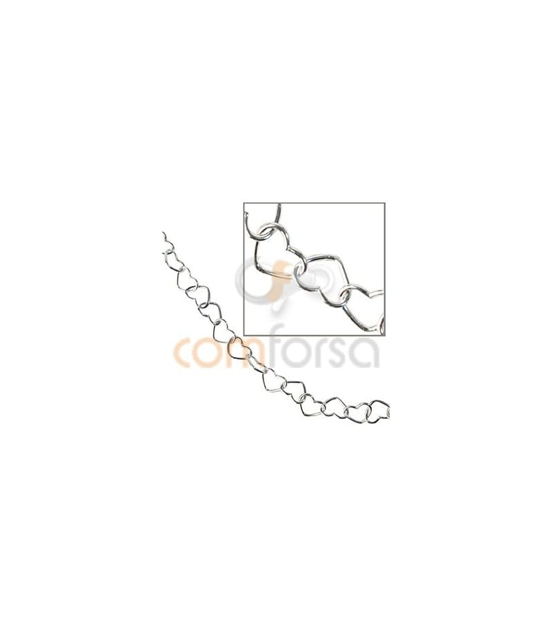 Sterling silver 925 heart chain 5 x6 mm