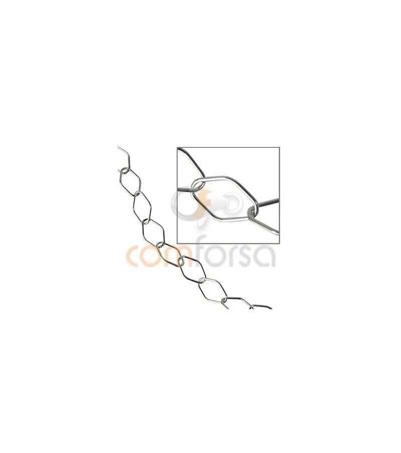 Sterling silver 925 rhombus chain 7.5 x 12 mm