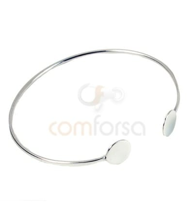 Sterling silver 925 Double plain disk strand bangle