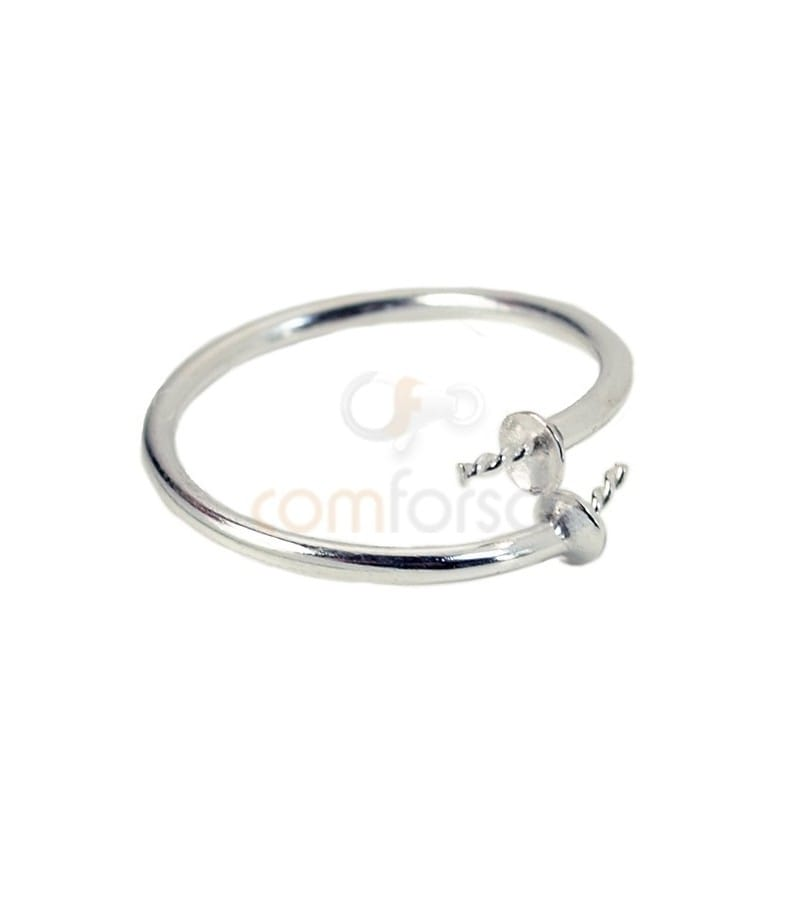 Sterling silver 925 ring with cup and studs 5 x 18 mm