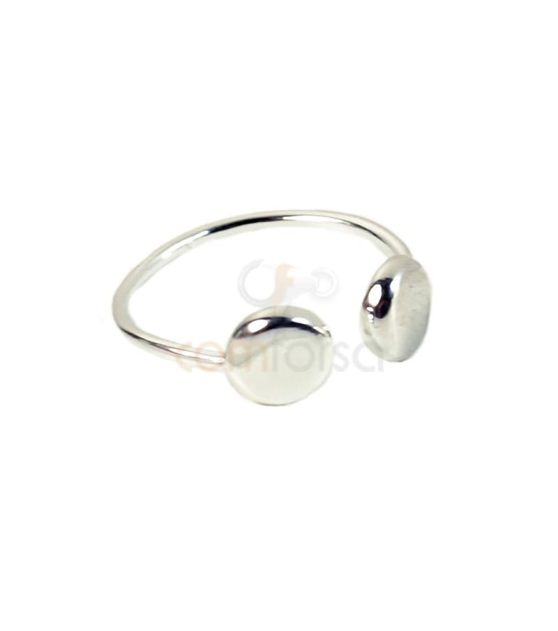 Sterling silver 925 double disk ring 6.5 mm