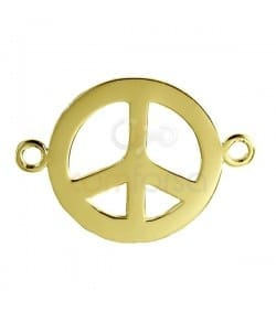 Peace spacer 26 mm Gold plated silver
