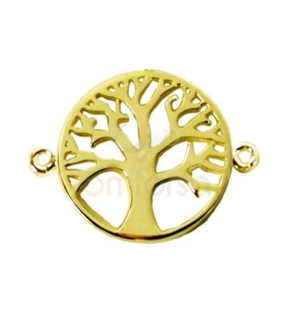 Gold plated sterling silver 925 life tree connector 17 mm