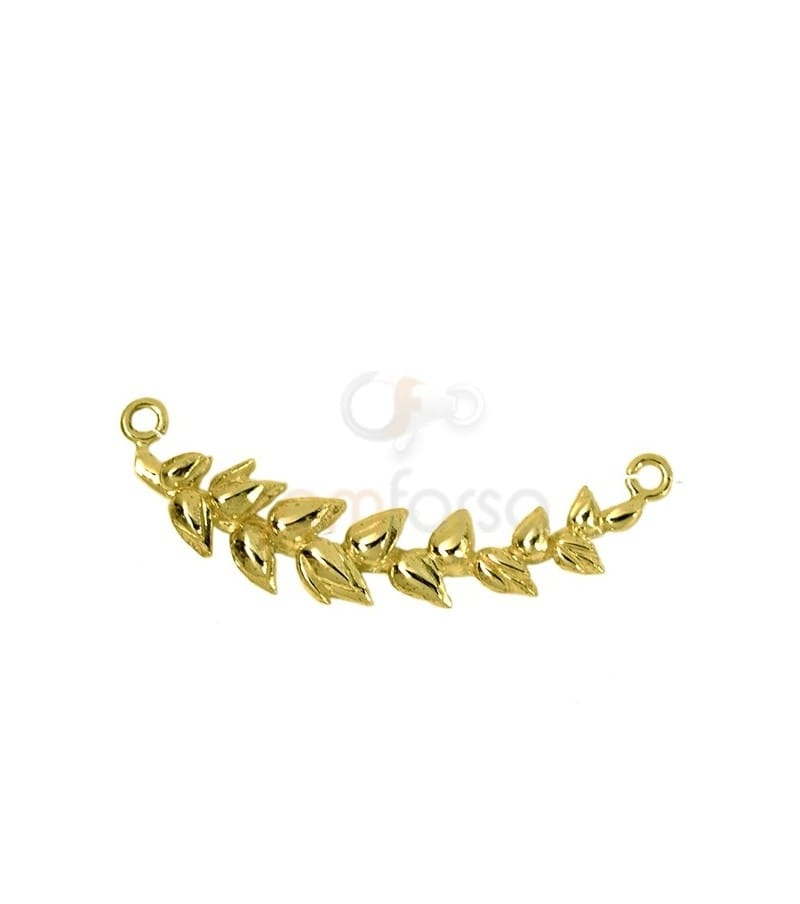 Gold plated sterling silver 925 wheat spike connector 26x9.5 mm