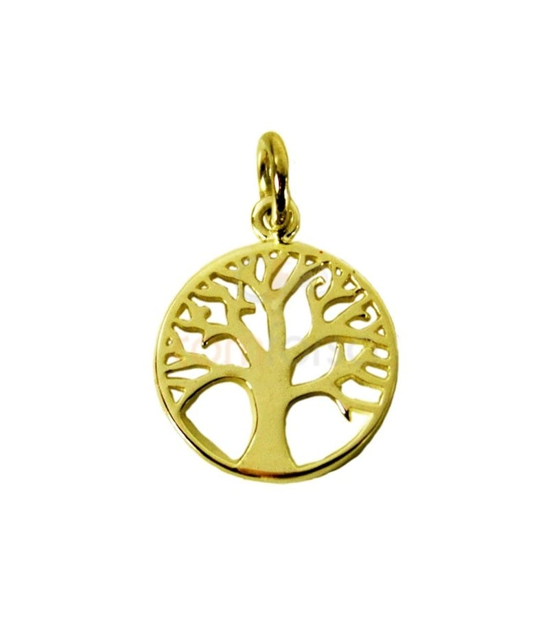 Gold plated sterling silver 925 filigree life tree charm 12 mm