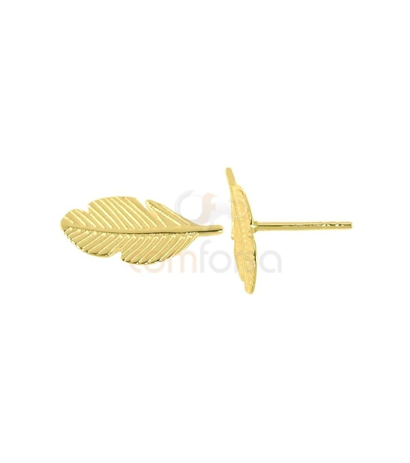 Gold plated sterling silver 925 leaf earrings 7x15 mm