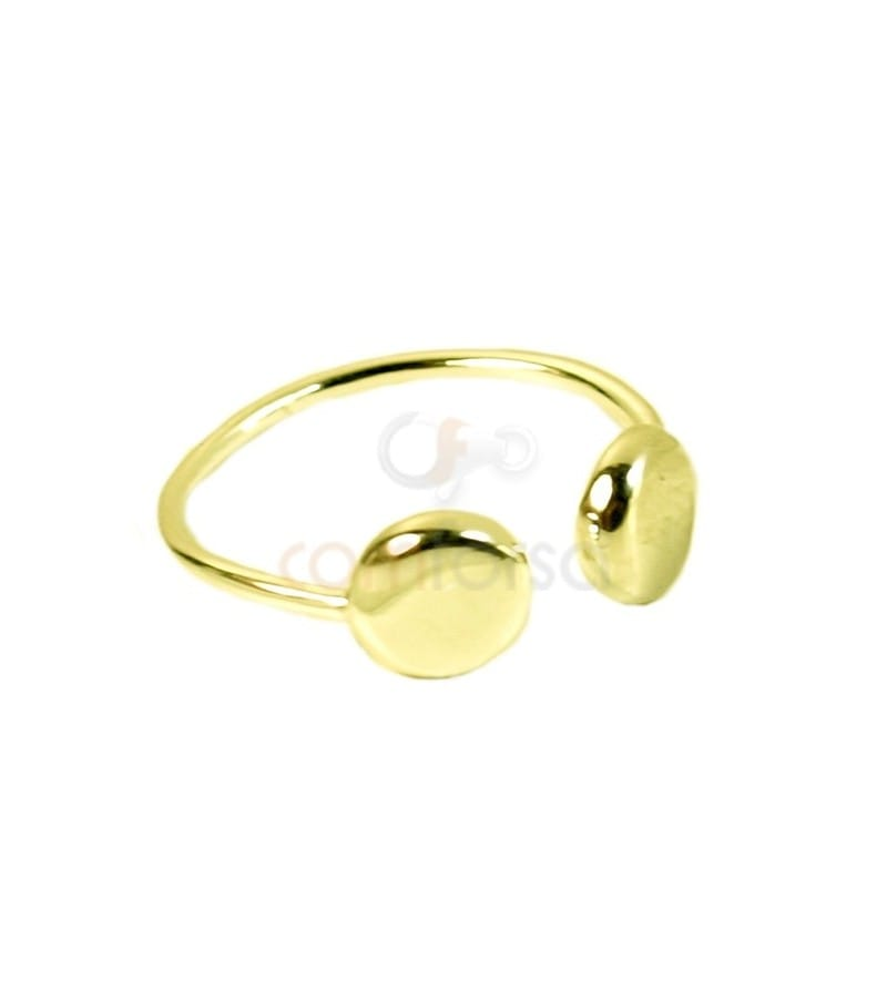 Gold plated sterling silver 925 double disk ring