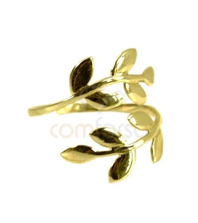 Gold plated sterling silver 925 laurel adjustable ring